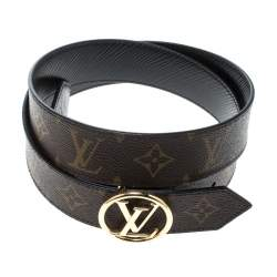 Louis Vuitton Brown/Black Monogram Canvas and Epi Leather Circle Reversible Belt Size 90 cm