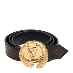Louis Vuitton Black Monogram Canvas and Leather Angel Wing Belt 80 CM