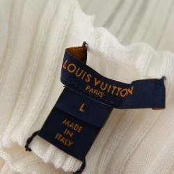 Louis Vuitton Cream Wool Boat Neck Top L