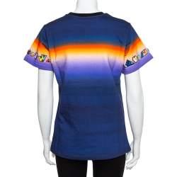 Louis Vuitton Navy Blue Cotton Prism Print Logo Applique Detail Crewneck T-Shirt M