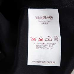 Louis Vuitton Black Silk Contrast Trim Detail Belted Midi Dress M