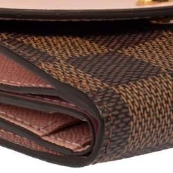 Louis Vuitton Rose Ballerine Leather and Damier Ebene Canvas Zoe Wallet
