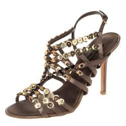 Louis Vuitton Dark Grey Satin Large Sequin Embellished Strappy Sandals Size 37