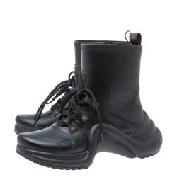 Louis Vuitton Black Matte Rubber Archlight Monogram Canvas Effect Trainer Boots Size 38