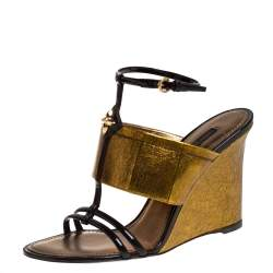 Louis Vuitton Metallic Gold/Burgundy Patent Leather and Leather Wedge Sandals Size 37