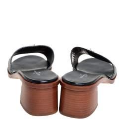 Louis Vuitton Black Leather Lock It Mule Sandals Size 41