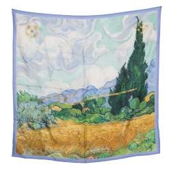 Louis Vuitton X Jeff Koons A Wheatfield With Cypresses Printed Silk Lurex Embroidered Square Scarf