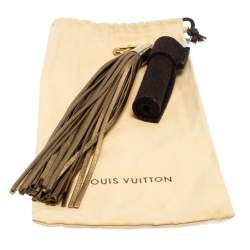 Louis Vuitton Metallic Gold/Brown Leather and Fabric Tassel Bag Charm
