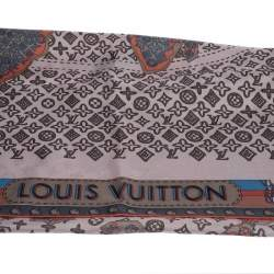 Louis Vuitton Pale Pink Monogram World Map Print Silk Square Scarf