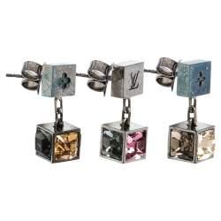 Louis Vuitton Gamble Multi Color Crystal Black Tone Drop Earrings