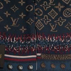 Louis Vuitton Navy Blue Monogram Map Silk Bandeau Scarf