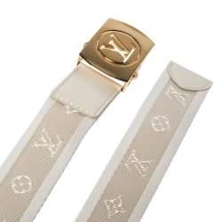Louis Vuitton White Monogram Canvas Logo Plague Buckle Belt 80CM