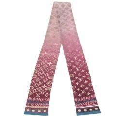 Louis Vuitton Burgundy & Pink Silk Monogram Map Bandeau Scarf