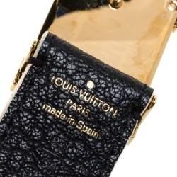 Louis Vuitton Black Leather Logo Square Buckle Belt 85CM