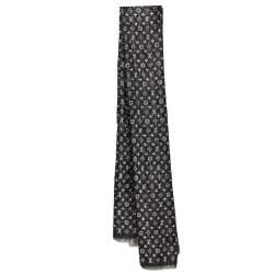 Louis Vuitton Black Logo Monogram Lurex Silk So Glitter Stole