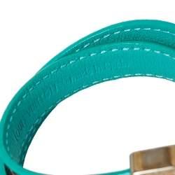Louis Vuitton Turquoise Leather & Brown Monogram Canvas Lockit Double Wrap Bracelet