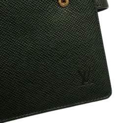 غطاء آجندة لوي فيتون جلد تايغا خضراء GM