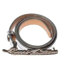 Louis Vuitton Metallic Silver Leather Logo Narrow Belt 80CM