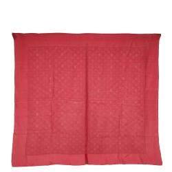 Louis Vuitton Red Silk Monogram Shine Scarf