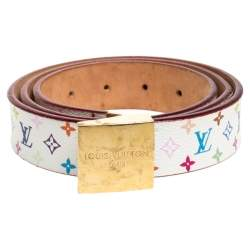 Louis Vuitton White Multicolor Monogram Canvas Buckle Belt 90CM