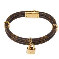 Louis Vuitton Keep It Twice Double Monogram Canvas Padlock Charm Bracelet 17CM