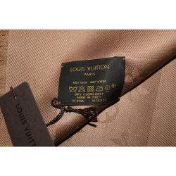 Louis Vuitton Cappuccino Monogram Wool and Silk Shawl