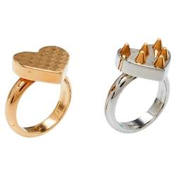 Louis Vuitton Spiky Valentine Two Tone Cocktail Ring Set S