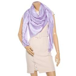 Louis Vuitton Lilac Logo Monogram Silk and Wool Scarf