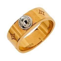 Louis Vuitton Gold Tone Nanogram Ring S