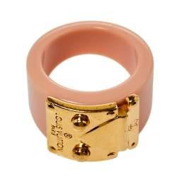 Louis Vuitton Lock Me Blush Pink Resin Gold Tone Ring M