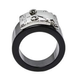 Louis Vuitton Lock Me Black Resin Silver Tone Ring M