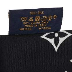 Louis Vuitton Black Logo Monogram Silk Bandeau