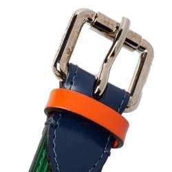 حزام رفيع لوي فيتون جلد أيبي ثلاثي اللون مقاس 85 سم