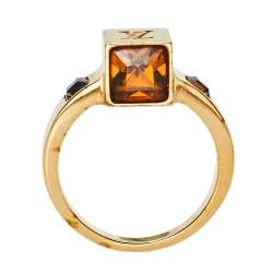 Louis Vuitton Gold Tone Crystal Gamble Ring Size M