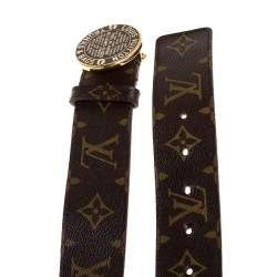 Louis Vuitton Monogram Canvas Trunks and Bags Round Buckle Belt 80CM