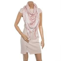 Louis Vuitton Pink Monogram Silk & Wool Denim Shawl