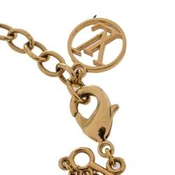 Louis Vuitton Brown Boite Chapeau Charm Gold Tone Mini LV Bracelet