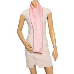 Louis Vuitton Rose Silk & Wool Monogram Shawl