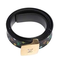 Louis Vuitton Black Multicolore Monogram Canvas LV Cut Belt 90 CM