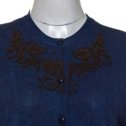 Louis Vuitton Blue Cotton Printed Cardigan M