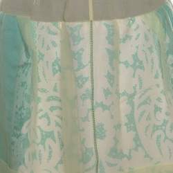 Louis Vuitton Yellow and Green Silk Lace Trim Skirt M