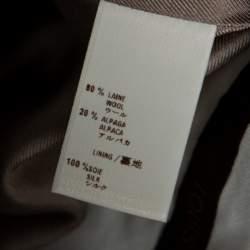 Louis Vuitton Beige Wool Herringbone Pencil Skirt M