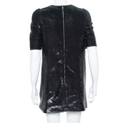 Louis Vuitton Black Sequin Embellished Short Sleeve Shift Dress M