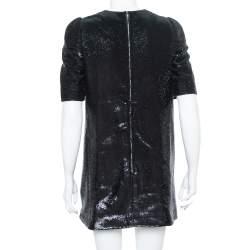 فستان قصير لوي فيتون أكمام قصيرة مزخرف ترتر أسود M
