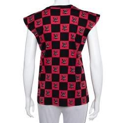 Louis Vuitton Black & Pink Logo Checkered Knit Sleeveless Top M