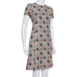 Louis Vuitton Cream Wool & Silk Logo Monogram Shift Dress M
