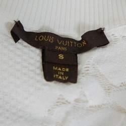 Louis Vuitton White Lace Knit Crewneck Top S
