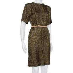 Louis Vuitton Dark Green Printed Silk Belted Shift Dress S
