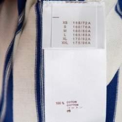 Louis Vuitton Blue & White Striped Cotton Shoulder Button Detail Top XS