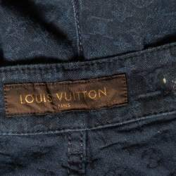 Louis Vuitton Navy Blue Denim Logo Jacquard Detail Tapered Leg Jeans M